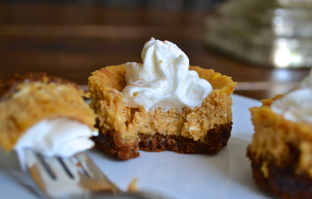 Mini Pumpkin Cheesecakes with Gingersnap Crust | The Newlywed Chefs